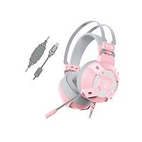 Tai nghe Gaming 7.1 Fantech HG11 CAPTAIN phiên bản màu hồng và trắng LED RGB Hỗ Trợ Mic Chống Ồn - Hàng chính hãng