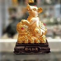 Tượng Chuột Vàng Trên Gậy Như Ý - Thuận Tâm Như Ý TM022
