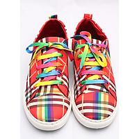 Giày vải nam dây buộc kẻ sọc thời trang màu đỏ