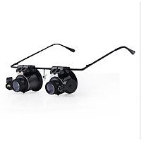 20X Glasses-style Magnifying Glass with LED Light Optical Lens for Watching Repair Detection Reading Tools