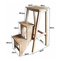 Ghế thắp nhang 3 bậc chân gấp, gỗ cao su