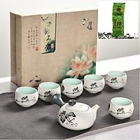 Bộ ấm chén pha trà Định Châu Hoa Sen + tặng 1 gói trà búp tôm 100g