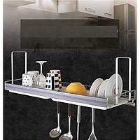 Kệ chén, kệ treo tủ bếp, kệ chén treo 1 tầng, kệ bát Inox 304 - Aluminum Classic E + ống đũa nhựa