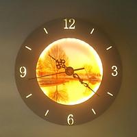 Đèn gắn tường đồng hồ phong cảnh - Led 3 chế độ