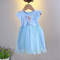 Váy công chúa elsa mùa hè FREESHIPváy hè cho bé gái hàng Quảng Châu hình in rõ nét dáng xòe cho các bé 3-6 tuổi