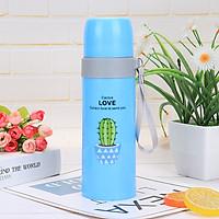 Bình Nước Thủy Tinh Giữ Nhiệt Bọc Nhựa Họa Tiết Cây Xương Rồng, Chữ Cactus Love 500ml
