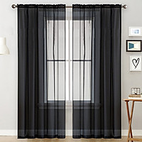 Sheer Curtains Living Room Rod Pocket Window Curtain Panels Bedroom Semi Sheer Voile Curtains White (55''Wx102''L,2