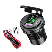 USB Car Charger, Fast USB Car Charger PD&QC 3.0 Dual Port Car Adapter Voltage Monitor Waterproof