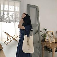 Túi tote vải bố đựng đồ canvas, túi vuông một quai PARI phù hợp đi học đi làm HZ38