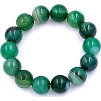 Vòng chuỗi đeo tay thạch anh xanh lá sọc 14 ly - Chuỗi hạt đeo tay đá phong thủy