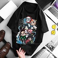 Áo thanh gươm diệt quỷ Kimetsu No Yaiba Tanjiro Nezuko (Đen) chuyến tàu vô tận, áo thun Anime Manga Unisex Nam Nữ, áo phông cổ tròn basic cộc tay thoáng mát, mẫu mới có