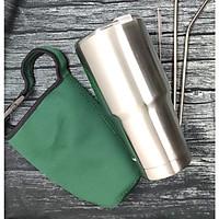 BÌNH GIỮ NHIỆT chính hãng AMZO màu Bạc 900ml , quà tặng kèm hấp dẫn, Túi đựng (màu ngẫu nhiên),2 ống hút, cọ ống hút