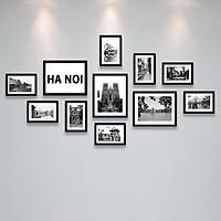 Bộ Khung Ảnh Treo Tường Hà Nội Xưa Trắng Đen Tặng Kèm bộ ảnh như hình mẫu, đinh treo tranh và sơ đồ treo - PGC270