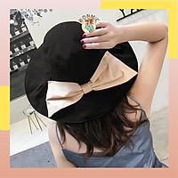 Mũ nón bucket vải vành rộng che nắng đi biển có nơ lớn phong cách Nhật Bản Hàn Quốc; M13 - BONMIE