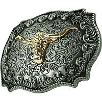 Antique Golden Embossed Long Horn Bull Head West Cowboy Retro Belt Buckle