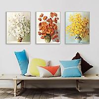 Tranh treo tường phòng khách, tranh Hoa 3D Hiện Đại M16011 /Gỗ MDF cao cấp phủ kim sa/ Chống ẩm mốc, mối mọt/Bo viền góc tròn