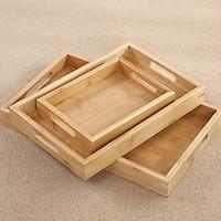 Khay gỗ Tre chữ nhật có tay cầm, Nhiều Kích thước (Tre VN), Cứng cáp