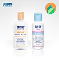 Dung dịch vệ sinh nam nữ mẹ bầu EUBOS 200ml + Dầu tắm dưỡng ẩm cho bé EUBOS 125ml