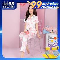 VINGO Bộ Đồ Mặc Nhà Pyjama Nữ Chất Liệu Lụa Pháp Cao Cấp Tay Cộc Quần Dài Họa Tiết Hồng Thanh Lịch Hiện Đại H478 VNGO