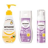 Combo Sữa tắm và dung dịch vệ sinh phụ nữ Betadine 500ml & 250ml + Tặng bọt vệ sinh phụ nữ Betadine bảo vệ dịu nhẹ 100ml