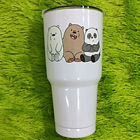 Ly giữ nhiệt Thái Lan 900ml _ tặng 2 ống hút inox + 1 túi xách + 1 cọ rửa ống hút _ 3 con gấu trắng