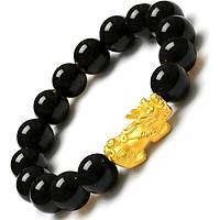 Vòng tay nam phong thủy may mắn (đá Obsidian với tỳ hưu vàng)