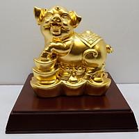 Linh vật Lợn tài lộc bằng đồng dát vàng 9999