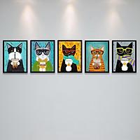 Khung Ảnh Bộ Treo Tường Quán Cafe Những Chú Mèo Ngộ Nghĩnh Tặng Kèm bộ ảnh như hình mẫu, đinh treo tranh và sơ đồ treo PGC285
