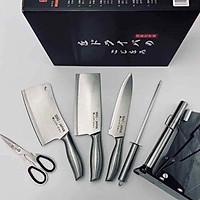 Bộ dao Nhật 6 món cao cấp chất liệu inox không rỉ kèm khay để dao