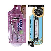 Combo Uốn mi cong inox Light Curve KAI + Bấm móng tay inox mẫu hoa văn cỡ to KAI - Nội địa Nhật Bản
