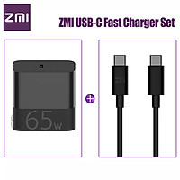 ZMI USB-C Fast Charger 65W With USB-C to USB-C Data Cable Fast Charging Power Adapter Foldable Plug For iPhone iPad