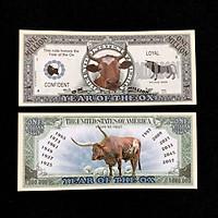 Tiền lưu niệm 1 triệu USD hình con Trâu có kích thước 15,5 x 6,5cm, màu xám, dùng để lưu niệm, sưu tầm, làm quà tặng, không có lưu hành- TMT colletion - SP002450