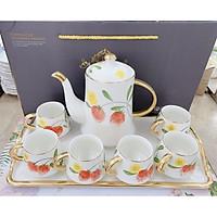 Bộ ấm chén kèm khay sứ sương pha trà cà phê  trắng họa tiêt hoa quả bắt mắt phong cách Châu Âu hiện đại sang trọng - ANTH35
