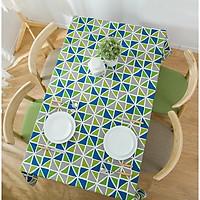 Khăn trải bàn vải bố - Đa giác xanh - mẫu P04