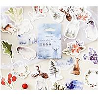 Hộp 46 Miếng Dán Stickers Khu Rừng Mùa Đông Trang Trí Sổ Thiệp