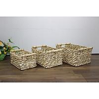 Bộ 3 Khay - Sọt lục bình đan kết hợp lá Buông - SD5648A/3NA