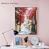 Tranh sơn dầu số hóa tự tô cho người lớn phong cảnh góc phố hoa PC4118