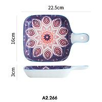 Đĩa nướng, đĩa sứ cách nhiệt vuông có tay cầm nhiều họa tiết phong cách Bohemia