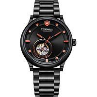 Đồng hồ nam máy cơ lộ máy dây da và thép chính hãng Thụy Sĩ TOPHILL TV005G.S5188