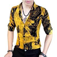 Áo sơ mi nam SM05 , áo nam vải lụa co dãn họa tiết in hoa văn nhẹ phong cách hàn quốc trẻ trung thời thượng năng động mẫu JJ0123 gồm 3 size (M L XL) kiểu dáng đa dạng không xù lông