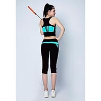 Bộ thể thao quần lửng phối lưới áo croptop cao cấp Xanh ngọc - DL515