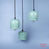 Đèn thả hoa chuông gốm, Đèn Gốm Sứ Bát Tràng trang trí nội thất, đèn phòng ngủ hàng chính hãng.