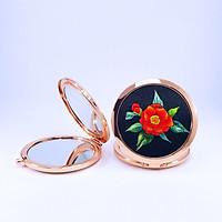 Gương Thêu Tay, Gương Trang Điểm Mini ( Họa Tiết Thêu Hoa Camellia ) - Quà Tặng Ngày 20 Tháng 10 Ý Nghĩa