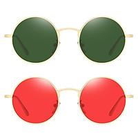2 Pieces Metal Small Circle Lens Sunglasses Steampunk Gothic Shades Eyewear