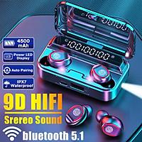 HD 9D Wireless TWS HiFi bluetooth 5.1 Earbuds CVC8.0 Noise Reduction Stereo Headset LED Display Headset Waterproof Dual Headphones (8000mAh Power Charging Box)