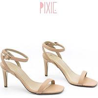 Giày Sandal Cao Gót 7cm Quai Mảnh Gót Nhọn Màu Kem Pixie P131