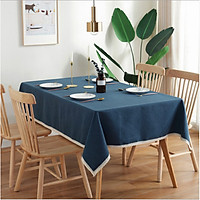 Khăn trải bàn xanh dương viền trắng