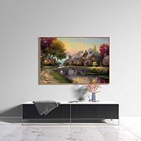 Tranh canvas phong cách sơn dầu - Phong cảnh Làng quê châu Âu cổ điển - PC044