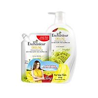Sữa tắm nước hoa dưỡng da Enchanteur Delightful gợi cảm tinh tế mịn màng quyến rũ 650g - tặng túi sữa tắm 200g