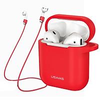 Bao case silicon và dây nối chống mất tai nghe Usams cho Apple Airpods / Earpods - Hàng chính hãng